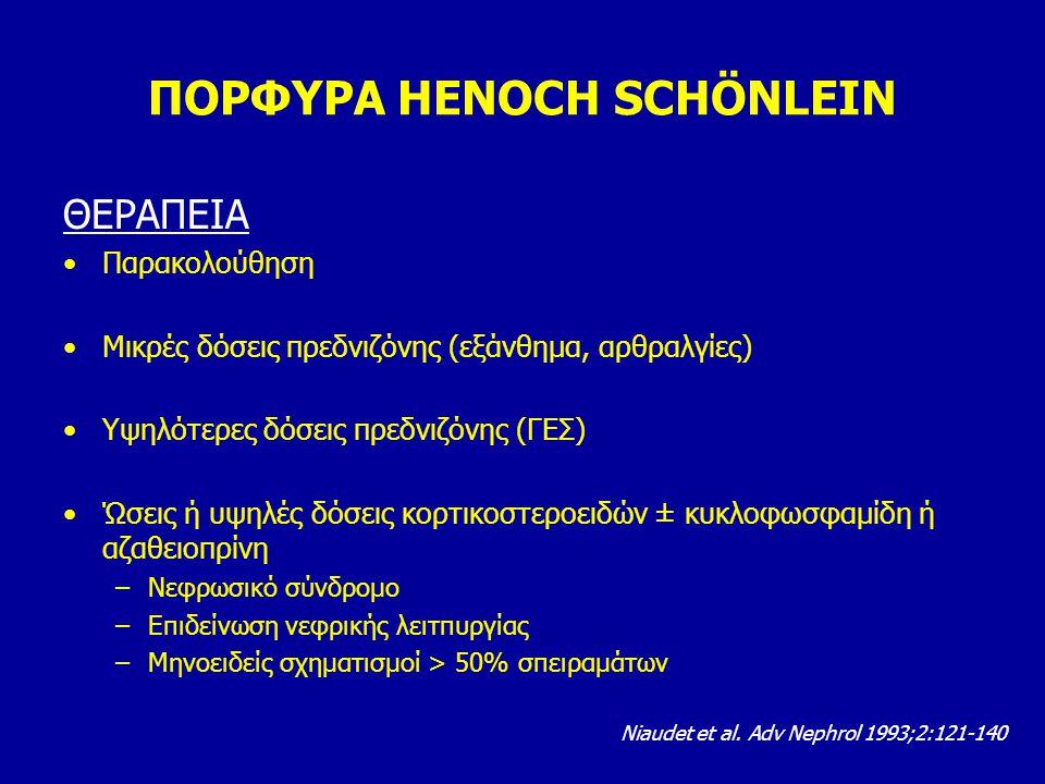ΠΟΡΦΥΡΑ HENOCH SCHÖNLEIN ΘΕΡΑΠΕΙΑ Παρακολούθηση Μικρές δόσεις πρεδνιζόνης (εξάνθημα, αρθραλγίες) Υψηλότερες δόσεις πρεδνιζόνης (ΓΕΣ) Ώσεις ή υψηλές δό