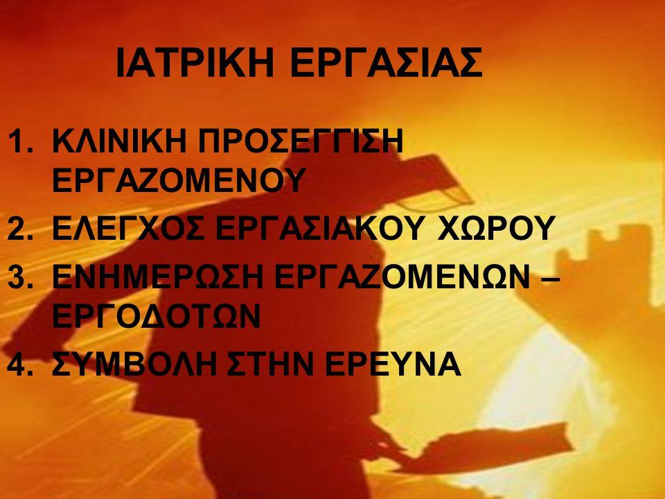 ΙΑΤΡΙΚΗ ΕΡΓΑΣΙΑΣ 1.ΚΛΙΝΙΚΗ ΠΡΟΣΕΓΓΙΣΗ ΕΡΓΑΖΟΜΕΝΟΥ 2.ΕΛΕΓΧΟΣ ΕΡΓΑΣΙΑΚΟΥ ΧΩΡΟΥ 3.ΕΝΗΜΕΡΩΣΗ ΕΡΓΑΖΟΜΕΝΩΝ – ΕΡΓΟΔΟΤΩΝ 4.ΣΥΜΒΟΛΗ ΣΤΗΝ ΕΡΕΥΝΑ