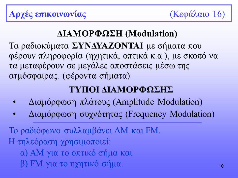 10 Αρχές επικοινωνίας (Κεφάλαιο 16) ΔΙΑΜΟΡΦΩΣΗ (Modulation) Τα ραδιοκύματα ΣΥΝΔΥΑΖΟΝΤΑΙ με σήματα που φέρουν πληροφορία (ηχητικά, οπτικά κ.α.), με σκοπό να τα μεταφέρουν σε μεγάλες αποστάσεις μέσω της ατμόσφαιρας.