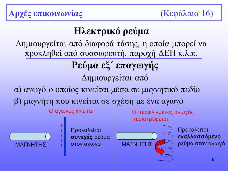 6 Αρχές επικοινωνίας (Κεφάλαιο 16) Ηλεκτρικό ρεύμα Δημιουργείται από διαφορά τάσης, η οποία μπορεί να προκληθεί από συσσωρευτή, παροχή ΔΕΗ κ.λ.π.