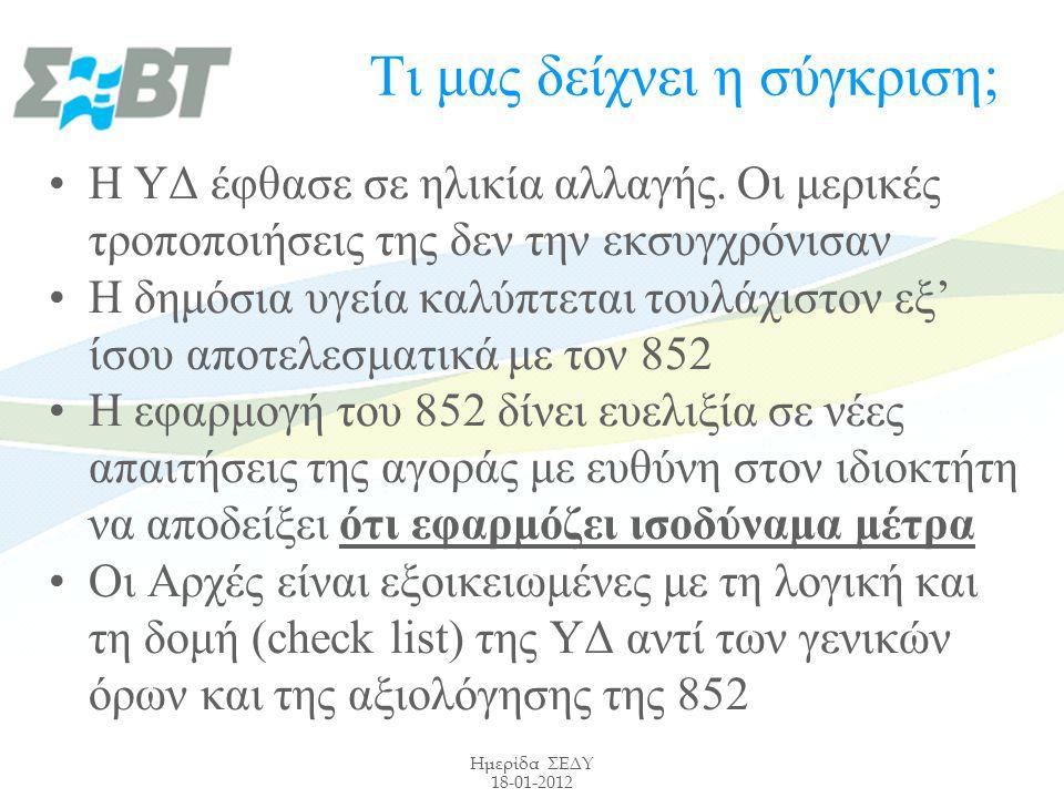 Ημερίδα ΣΕΔΥ 18-01-2012 Τι μας δείχνει η σύγκριση; Η ΥΔ έφθασε σε ηλικία αλλαγής.