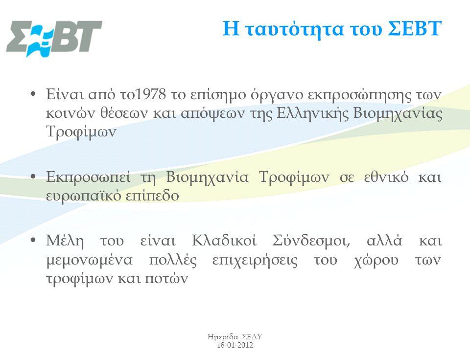 Ημερίδα ΣΕΔΥ 18-01-2012 Η ταυτότητα του ΣΕΒΤ Είναι από το1978 το επίσημο όργανο εκπροσώπησης των κοινών θέσεων και απόψεων της Ελληνικής Βιομηχανίας Τροφίμων Εκπροσωπεί τη Βιομηχανία Τροφίμων σε εθνικό και ευρωπαϊκό επίπεδο Mέλη του είναι Κλαδικοί Σύνδεσμοι, αλλά και μεμονωμένα πολλές επιχειρήσεις του χώρου των τροφίμων και ποτών