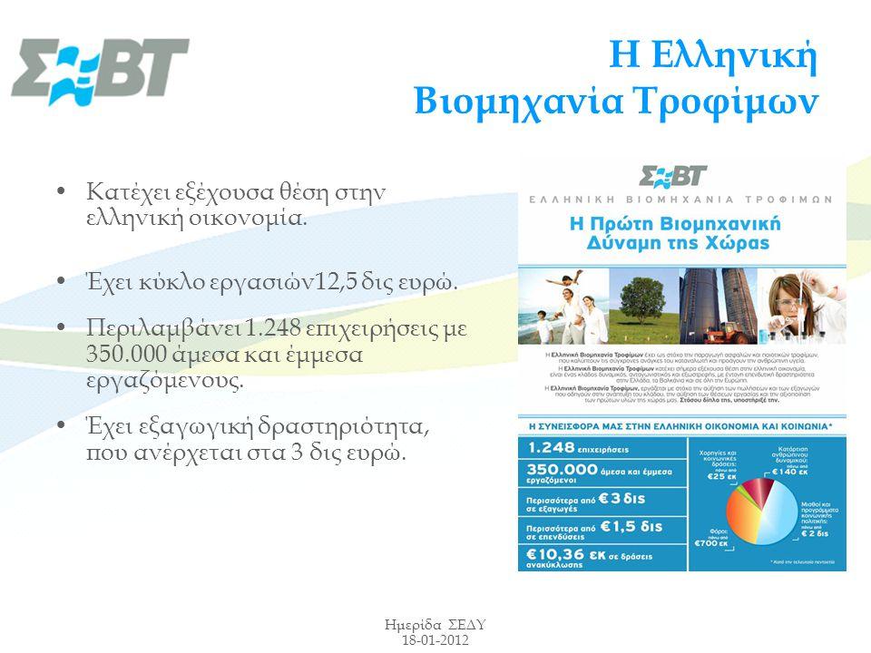Ημερίδα ΣΕΔΥ 18-01-2012 Η Ελληνική Βιομηχανία Τροφίμων Κατέχει εξέχουσα θέση στην ελληνική οικονομία.