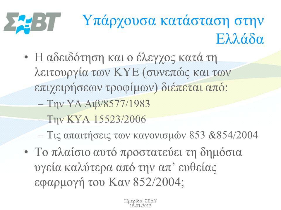 Ημερίδα ΣΕΔΥ 18-01-2012 Υπάρχουσα κατάσταση στην Ελλάδα Η αδειδότηση και ο έλεγχος κατά τη λειτουργία των ΚΥΕ (συνεπώς και των επιχειρήσεων τροφίμων) διέπεται από: –Την ΥΔ Αιβ/8577/1983 –Την ΚΥΑ 15523/2006 –Τις απαιτήσεις των κανονισμών 853 &854/2004 Το πλαίσιο αυτό προστατεύει τη δημόσια υγεία καλύτερα από την απ' ευθείας εφαρμογή του Καν 852/2004;