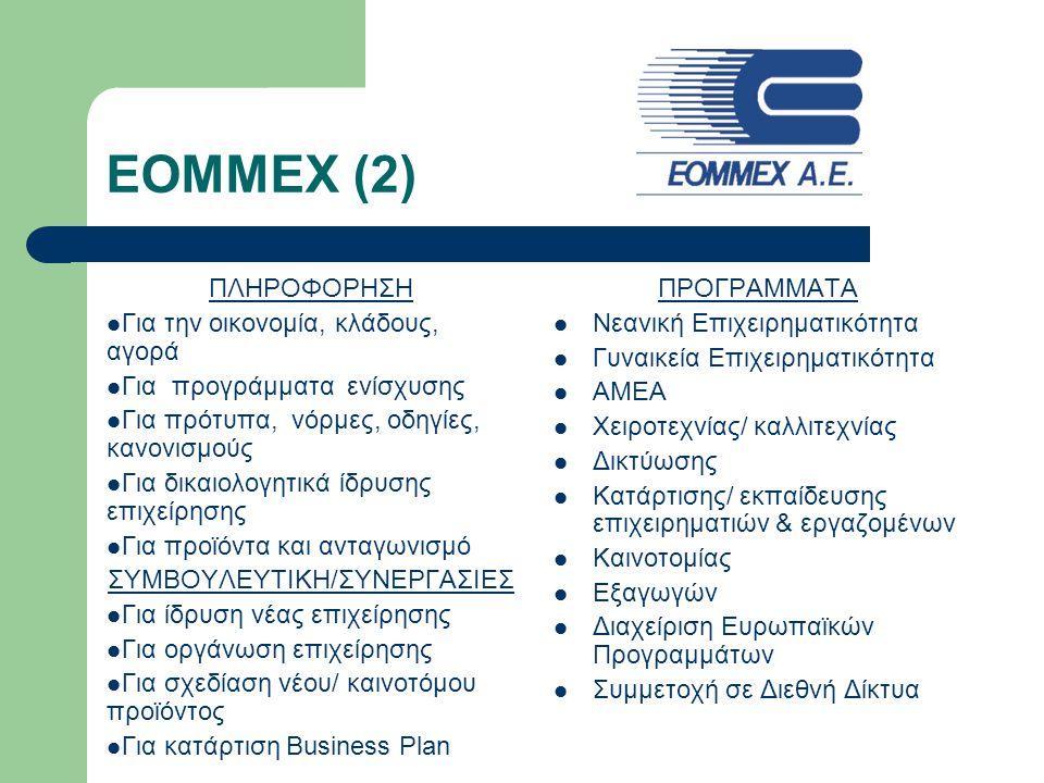 ΕΟΜΜΕΧ (2) ΠΛΗΡΟΦΟΡΗΣΗ Για την οικονομία, κλάδους, αγορά Για προγράμματα ενίσχυσης Για πρότυπα, νόρμες, οδηγίες, κανονισμούς Για δικαιολογητικά ίδρυση