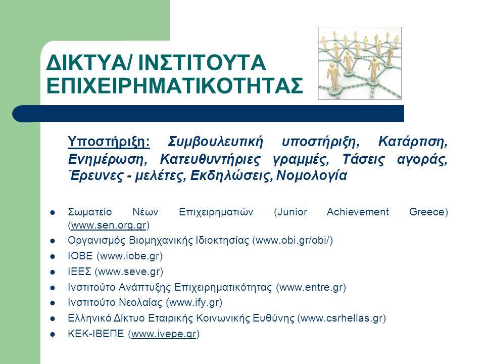 ΔΙΚΤΥΑ/ ΙΝΣΤΙΤΟΥΤΑ ΕΠΙΧΕΙΡΗΜΑΤΙΚΟΤΗΤΑΣ Υποστήριξη: Συμβουλευτική υποστήριξη, Κατάρτιση, Ενημέρωση, Κατευθυντήριες γραμμές, Τάσεις αγοράς, Έρευνες - με