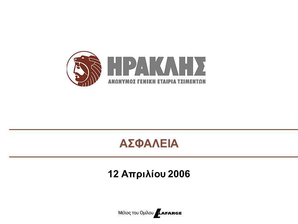 Αριθμός ατυχημάτων 2002 - 2005 Κανένα ατύχημα στη ΛΑΒΑ για πάνω από 4 χρόνια Τελευταίο ατύχημα στα Κέντρα Διανομής το 2004 9 LTI's το 2005, από τα οποία τα 8 στη Χαλκίδα