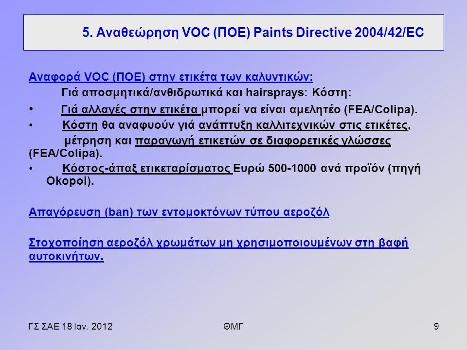 Αναφορά VOC (ΠΟΕ) στην ετικέτα των καλυντικών: Γιά αποσμητικά/ανθιδρωτικά και hairsprays: Κόστη: Γιά αλλαγές στην ετικέτα μπορεί να είναι αμελητέο (FEA/Colipa).