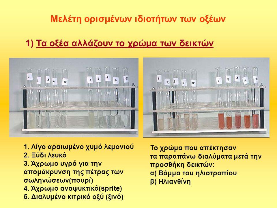 Προαιρετικά πειράματα Αλλαγή του χρώματος των δεικτών με διάφορα οξέα Βάμμα ηλιοτροπίου Ηλιανθίνη Τσάι Μετά την προσθήκη HCl, ή χυμό λεμονιού