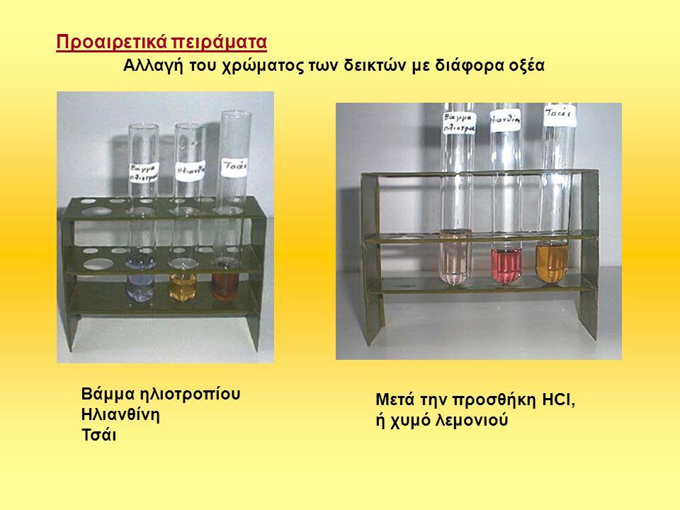 Δείκτες από την καθημερινή ζωή 1)Το σκούρο χρώμα του τσαγιού με χυμό λεμονιού γίνεται κίτρινο 2)Το κόκκινο κρασί με σόδα φαγητού αλλάζει χρώμα 3)Το ζουμί από παντζάρια ή κόκκινο λάχανο (μετά από βράσιμο ή διάλυση σε οινόπνευμα) από κόκκινο γίνεται τριανταφυλλί 4) Το ζουμί από βράσιμο μπιζελιών Δημιουργία της οξύτητας με το νερό Σε διηθητικό χαρτί ρίχνουμε δύο σταγόνες από βάμμα του ηλιοτροπίου και περιμένουμε να στεγνώσει.