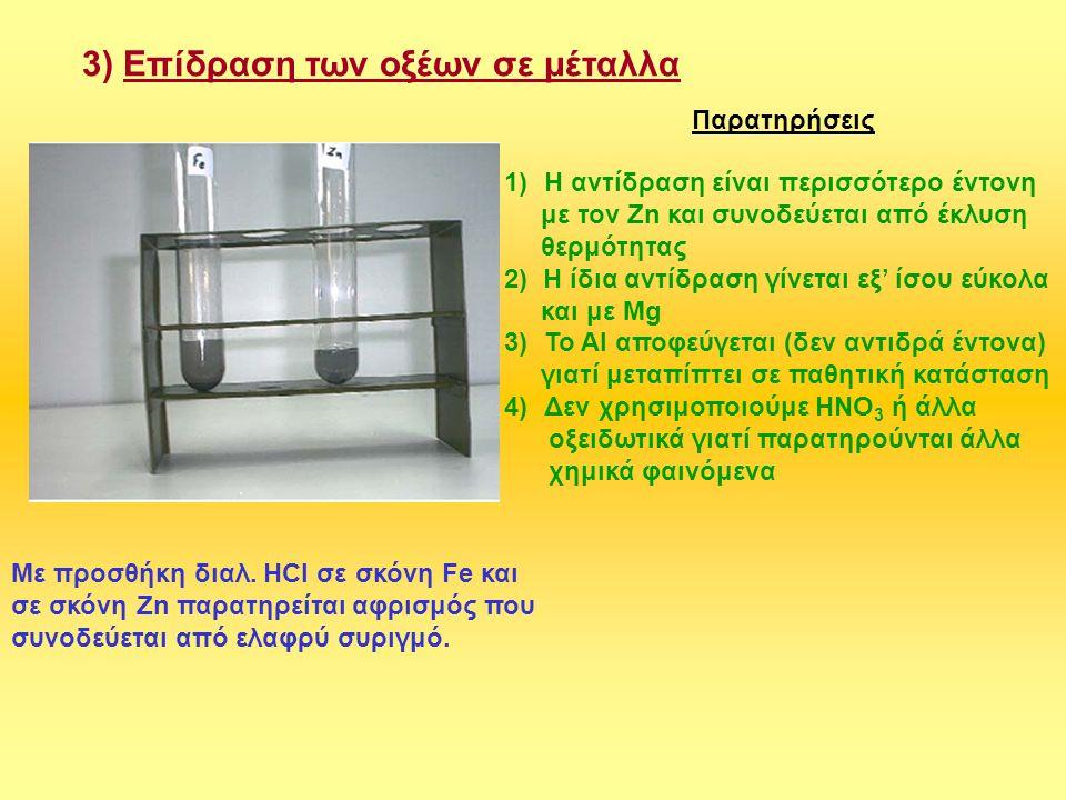 3) Επίδραση των οξέων σε μέταλλα Με προσθήκη διαλ. ΗCl σε σκόνη Fe και σε σκόνη Zn παρατηρείται αφρισμός που συνοδεύεται από ελαφρύ συριγμό. Παρατηρήσ