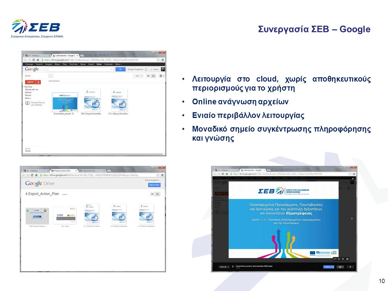 10 Λειτουργία στο cloud, χωρίς αποθηκευτικούς περιορισμούς για το χρήστη Online ανάγνωση αρχείων Ενιαίο περιβάλλον λειτουργίας Μοναδικό σημείο συγκέντ