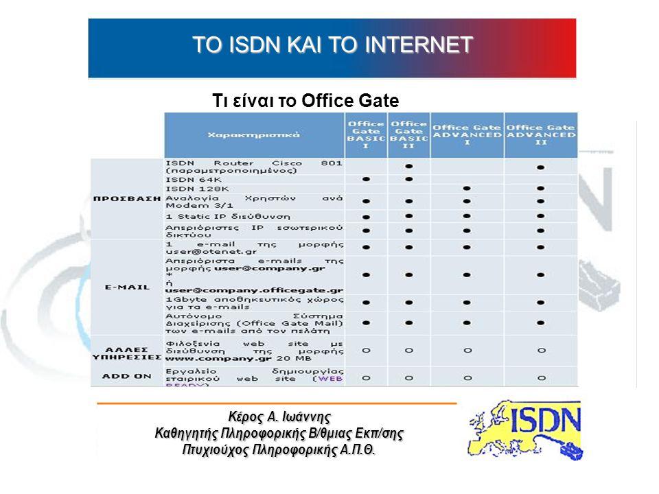 Κέρος Α. Ιωάννης Καθηγητής Πληροφορικής Β/θμιας Εκπ/σης Πτυχιούχος Πληροφορικής Α.Π.Θ. ΤO ISDN ΚΑΙ ΤΟ INTERNET Τι είναι το Office Gate