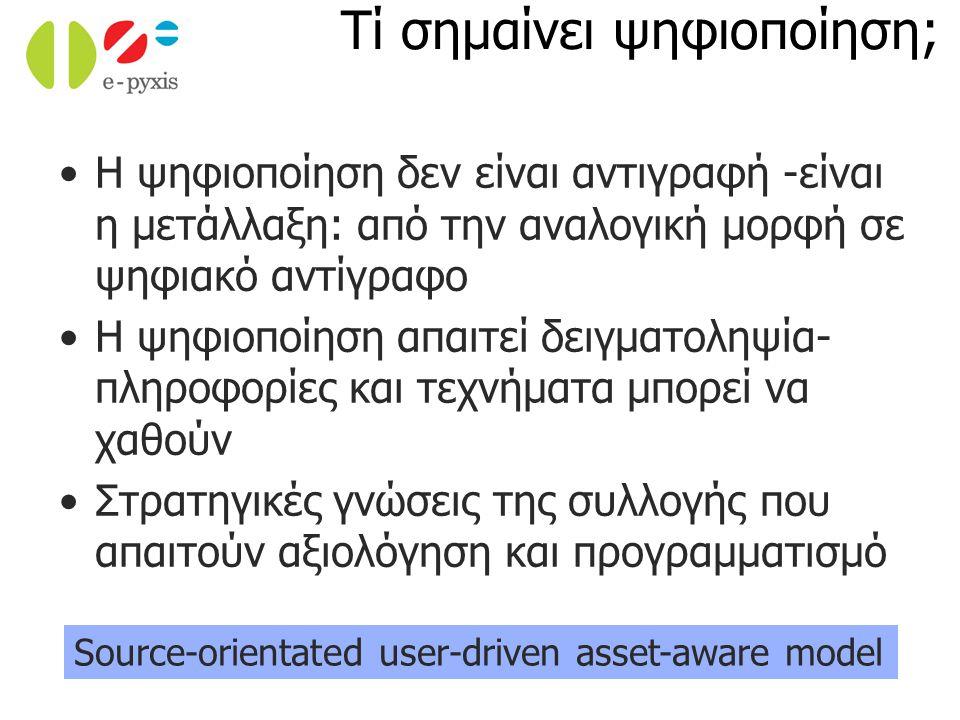 Η ψηφιοποίηση δεν είναι αντιγραφή -είναι η μετάλλαξη: από την αναλογική μορφή σε ψηφιακό αντίγραφο Η ψηφιοποίηση απαιτεί δειγματοληψία- πληροφορίες και τεχνήματα μπορεί να χαθούν Στρατηγικές γνώσεις της συλλογής που απαιτούν αξιολόγηση και προγραμματισμό Source-orientated user-driven asset-aware model Τί σημαίνει ψηφιοποίηση;