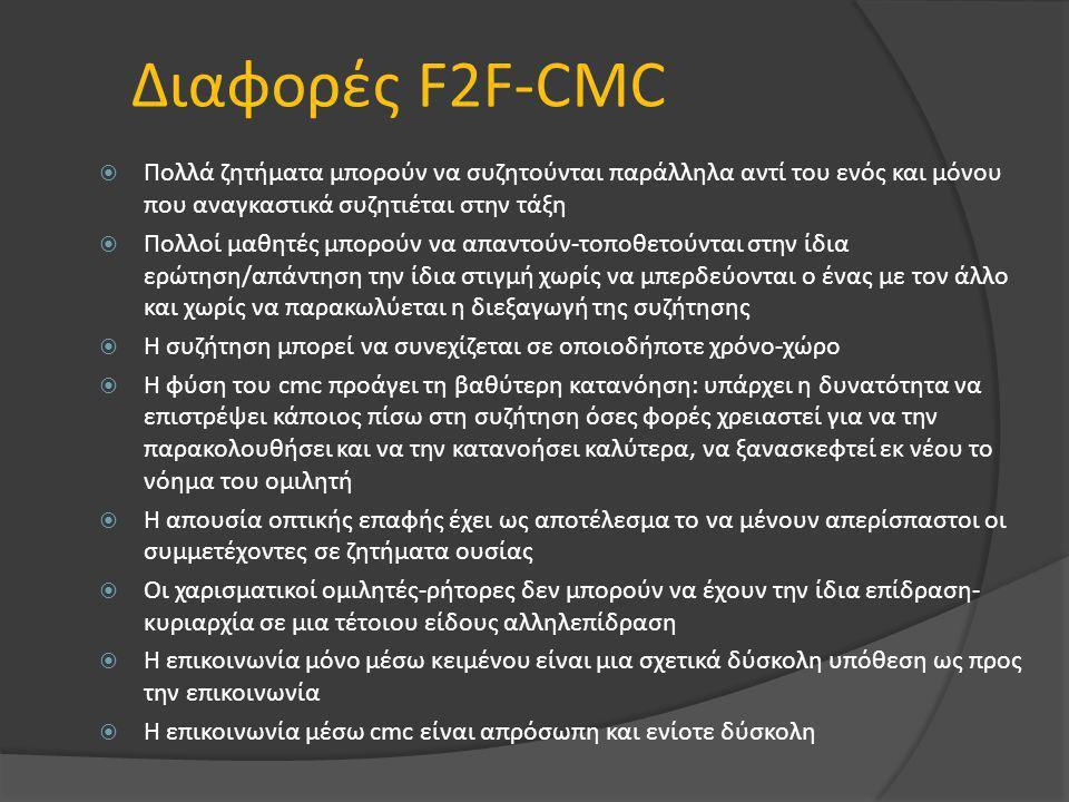 Διαφορές F2F-CMC  Πολλά ζητήματα μπορούν να συζητούνται παράλληλα αντί του ενός και μόνου που αναγκαστικά συζητιέται στην τάξη  Πολλοί μαθητές μπορούν να απαντούν-τοποθετούνται στην ίδια ερώτηση/απάντηση την ίδια στιγμή χωρίς να μπερδεύονται ο ένας με τον άλλο και χωρίς να παρακωλύεται η διεξαγωγή της συζήτησης  Η συζήτηση μπορεί να συνεχίζεται σε οποιοδήποτε χρόνο-χώρο  Η φύση του cmc προάγει τη βαθύτερη κατανόηση: υπάρχει η δυνατότητα να επιστρέψει κάποιος πίσω στη συζήτηση όσες φορές χρειαστεί για να την παρακολουθήσει και να την κατανοήσει καλύτερα, να ξανασκεφτεί εκ νέου το νόημα του ομιλητή  Η απουσία οπτικής επαφής έχει ως αποτέλεσμα το να μένουν απερίσπαστοι οι συμμετέχοντες σε ζητήματα ουσίας  Οι χαρισματικοί ομιλητές-ρήτορες δεν μπορούν να έχουν την ίδια επίδραση- κυριαρχία σε μια τέτοιου είδους αλληλεπίδραση  Η επικοινωνία μόνο μέσω κειμένου είναι μια σχετικά δύσκολη υπόθεση ως προς την επικοινωνία  Η επικοινωνία μέσω cmc είναι απρόσωπη και ενίοτε δύσκολη