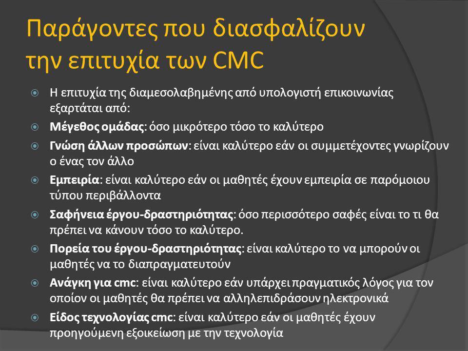 Παράγοντες που διασφαλίζουν την επιτυχία των CMC  Η επιτυχία της διαμεσολαβημένης από υπολογιστή επικοινωνίας εξαρτάται από:  Μέγεθος ομάδας: όσο μικρότερο τόσο το καλύτερο  Γνώση άλλων προσώπων: είναι καλύτερο εάν οι συμμετέχοντες γνωρίζουν ο ένας τον άλλο  Εμπειρία: είναι καλύτερο εάν οι μαθητές έχουν εμπειρία σε παρόμοιου τύπου περιβάλλοντα  Σαφήνεια έργου-δραστηριότητας: όσο περισσότερο σαφές είναι το τι θα πρέπει να κάνουν τόσο το καλύτερο.