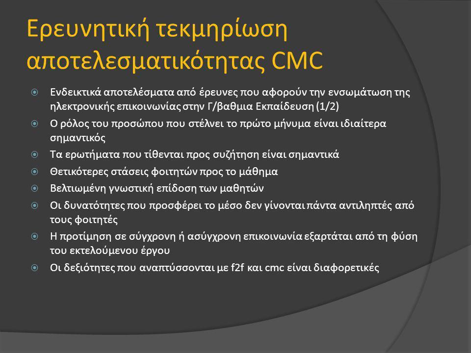 Ερευνητική τεκμηρίωση αποτελεσματικότητας CMC  Ενδεικτικά αποτελέσματα από έρευνες που αφορούν την ενσωμάτωση της ηλεκτρονικής επικοινωνίας στην Γ/βαθμια Εκπαίδευση (1/2)  Ο ρόλος του προσώπου που στέλνει το πρώτο μήνυμα είναι ιδιαίτερα σημαντικός  Τα ερωτήματα που τίθενται προς συζήτηση είναι σημαντικά  Θετικότερες στάσεις φοιτητών προς το μάθημα  Βελτιωμένη γνωστική επίδοση των μαθητών  Οι δυνατότητες που προσφέρει το μέσο δεν γίνονται πάντα αντιληπτές από τους φοιτητές  Η προτίμηση σε σύγχρονη ή ασύγχρονη επικοινωνία εξαρτάται από τη φύση του εκτελούμενου έργου  Οι δεξιότητες που αναπτύσσονται με f2f και cmc είναι διαφορετικές