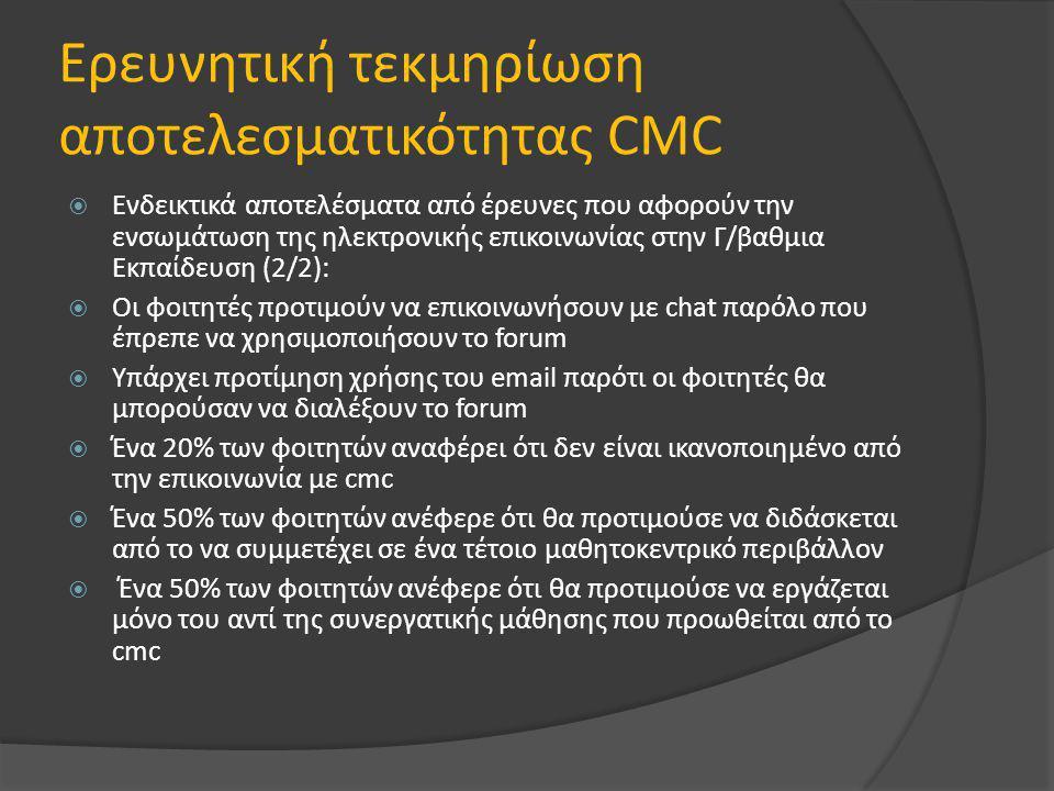 Ερευνητική τεκμηρίωση αποτελεσματικότητας CMC  Ενδεικτικά αποτελέσματα από έρευνες που αφορούν την ενσωμάτωση της ηλεκτρονικής επικοινωνίας στην Γ/βαθμια Εκπαίδευση (2/2):  Οι φοιτητές προτιμούν να επικοινωνήσουν με chat παρόλο που έπρεπε να χρησιμοποιήσουν το forum  Υπάρχει προτίμηση χρήσης του email παρότι οι φοιτητές θα μπορούσαν να διαλέξουν το forum  Ένα 20% των φοιτητών αναφέρει ότι δεν είναι ικανοποιημένο από την επικοινωνία με cmc  Ένα 50% των φοιτητών ανέφερε ότι θα προτιμούσε να διδάσκεται από το να συμμετέχει σε ένα τέτοιο μαθητοκεντρικό περιβάλλον  Ένα 50% των φοιτητών ανέφερε ότι θα προτιμούσε να εργάζεται μόνο του αντί της συνεργατικής μάθησης που προωθείται από το cmc