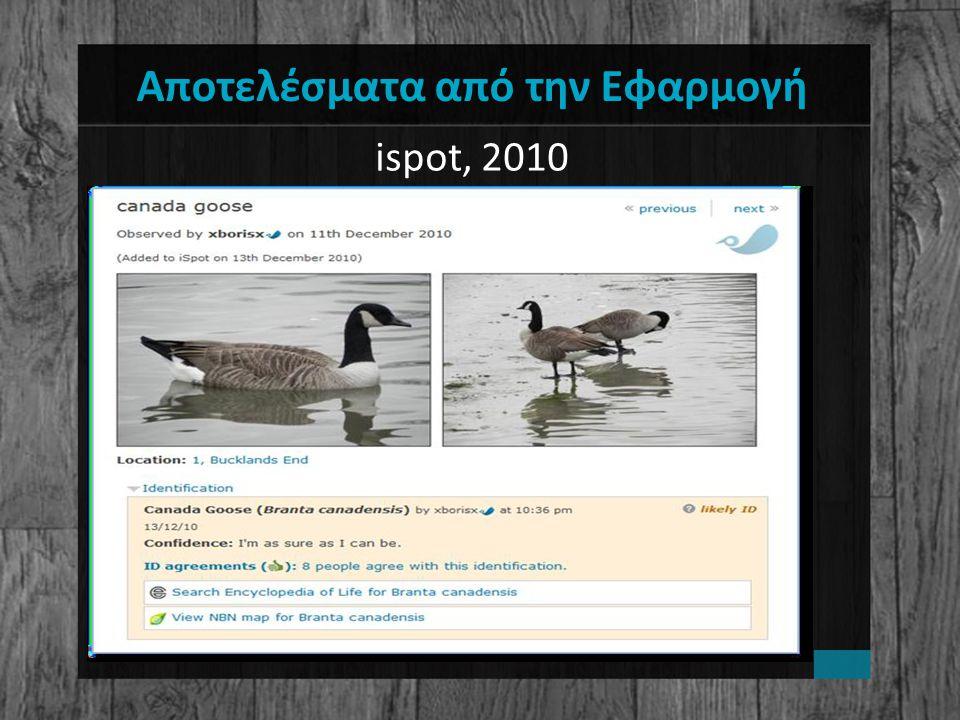 Αποτελέσματα από την Εφαρμογή ispot, 2010