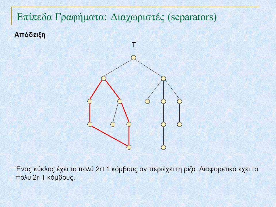 Επίπεδα Γραφήματα: Διαχωριστές (separators) TexPoint fonts used in EMF. Read the TexPoint manual before you delete this box.: AA A AA A A Απόδειξη Ένα