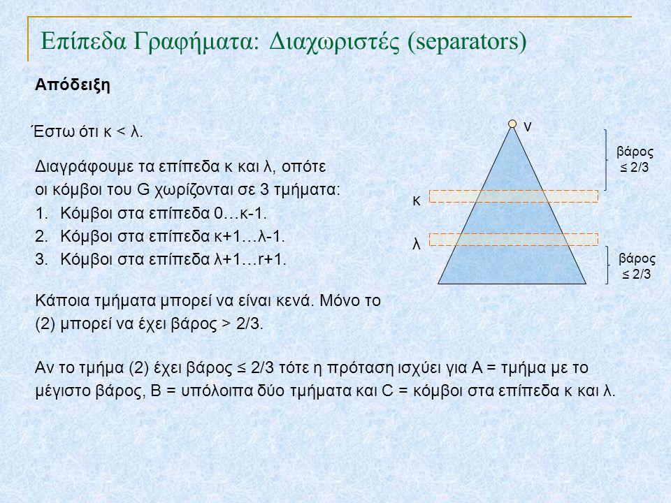 Επίπεδα Γραφήματα: Διαχωριστές (separators) TexPoint fonts used in EMF.