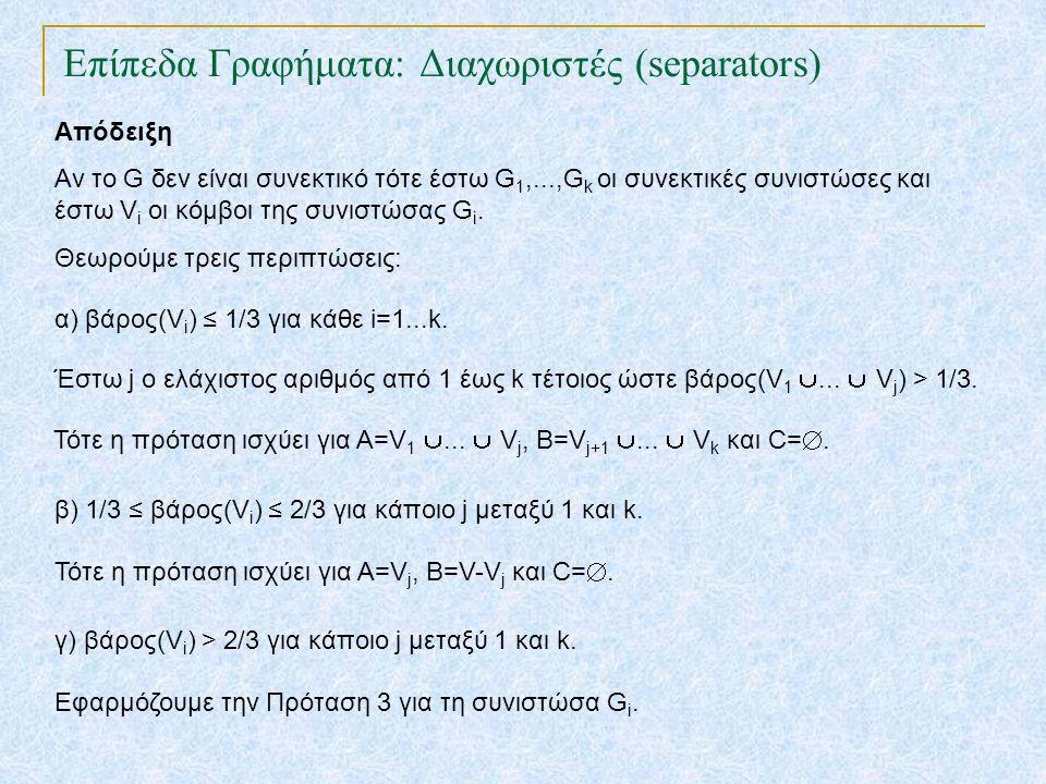 Επίπεδα Γραφήματα: Διαχωριστές (separators) TexPoint fonts used in EMF. Read the TexPoint manual before you delete this box.: AA A AA A A Απόδειξη Αν
