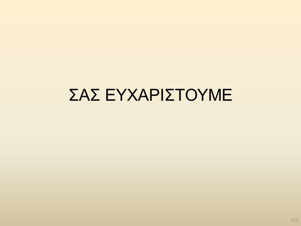 113 ΣΑΣ ΕΥΧΑΡΙΣΤΟΥΜΕ