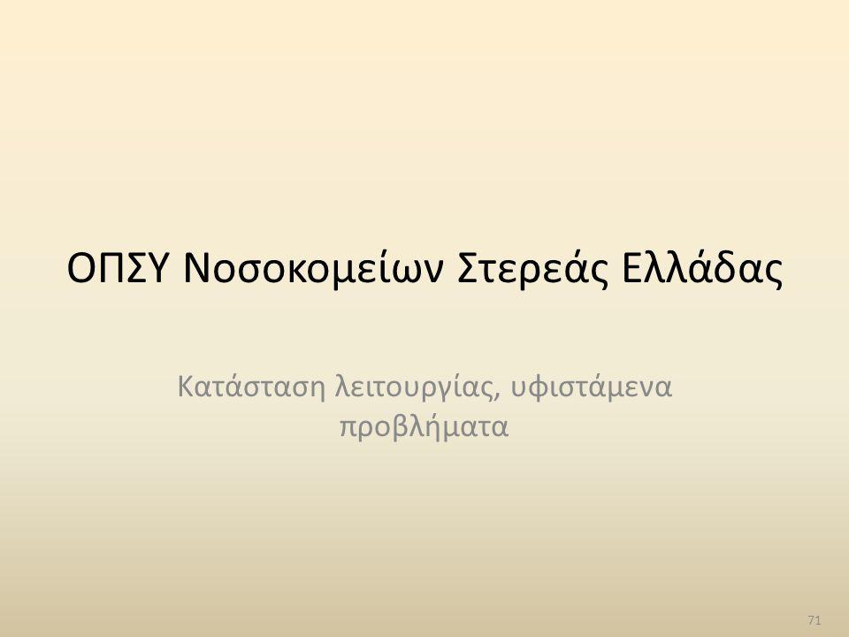 ΟΠΣΥ Νοσοκομείων Στερεάς Ελλάδας Κατάσταση λειτουργίας, υφιστάμενα προβλήματα 71