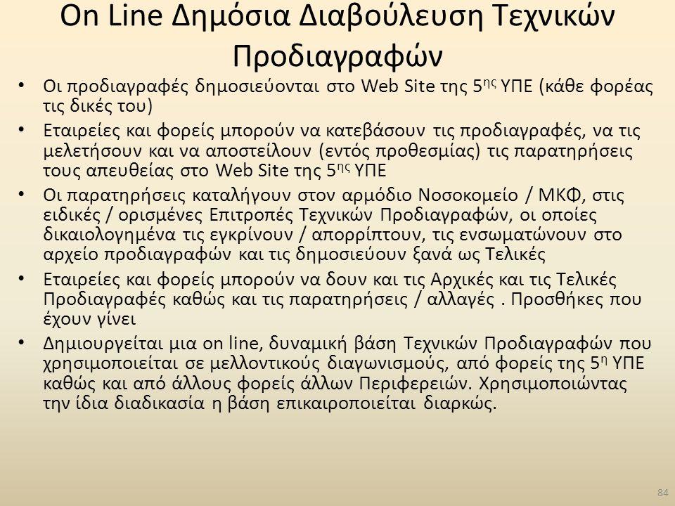 On Line Δημόσια Διαβούλευση Τεχνικών Προδιαγραφών Οι προδιαγραφές δημοσιεύονται στο Web Site της 5 ης ΥΠΕ (κάθε φορέας τις δικές του) Εταιρείες και φο