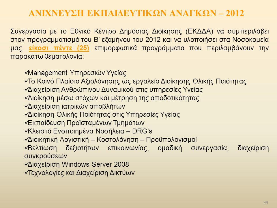 ΑΝΙΧΝΕΥΣΗ ΕΚΠΑΙΔΕΥΤΙΚΩΝ ΑΝΑΓΚΩΝ – 2012 Συνεργασία με το Εθνικό Κέντρο Δημόσιας Διοίκησης (ΕΚΔΔΑ) να συμπεριλάβει στον προγραμματισμό του Β' εξαμήνου τ