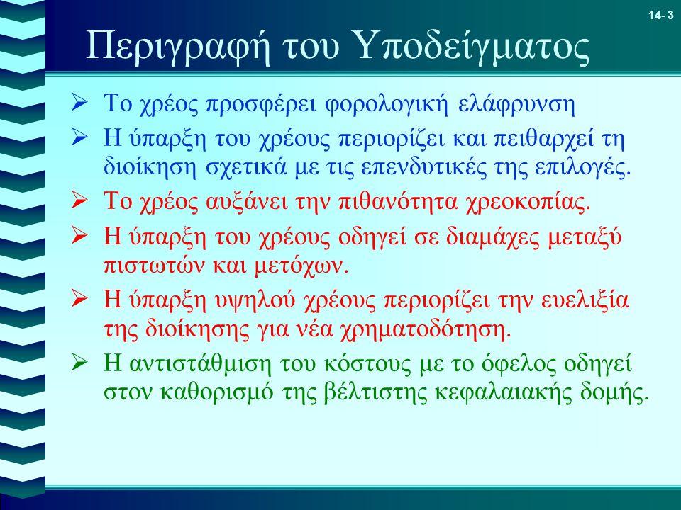 14- 3 Περιγραφή του Υποδείγματος  Το χρέος προσφέρει φορολογική ελάφρυνση  Η ύπαρξη του χρέους περιορίζει και πειθαρχεί τη διοίκηση σχετικά με τις ε