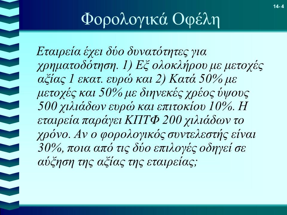 14- 4 Φορολογικά Οφέλη Εταιρεία έχει δύο δυνατότητες για χρηματοδότηση. 1) Εξ ολοκλήρου με μετοχές αξίας 1 εκατ. ευρώ και 2) Κατά 50% με μετοχές και 5