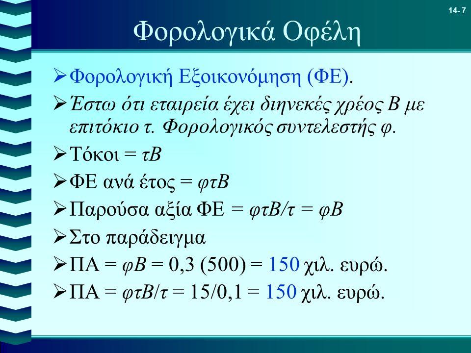 14- 7 Φορολογικά Οφέλη  Φορολογική Εξοικονόμηση (ΦΕ).  Έστω ότι εταιρεία έχει διηνεκές χρέος Β με επιτόκιο τ. Φορολογικός συντελεστής φ.  Τόκοι = τ