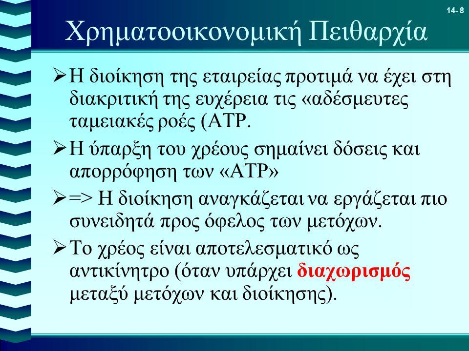 14- 8 Χρηματοοικονομική Πειθαρχία  Η διοίκηση της εταιρείας προτιμά να έχει στη διακριτική της ευχέρεια τις «αδέσμευτες ταμειακές ροές (ΑΤΡ.  Η ύπαρ