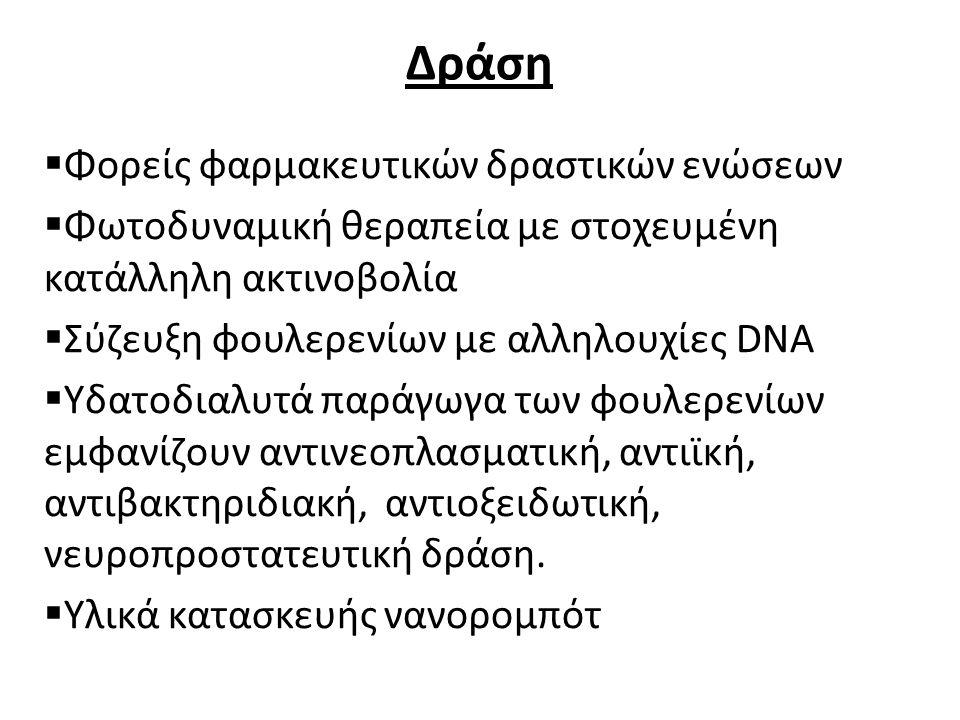 Δράση  Φορείς φαρμακευτικών δραστικών ενώσεων  Φωτοδυναμική θεραπεία με στοχευμένη κατάλληλη ακτινοβολία  Σύζευξη φουλερενίων με αλληλουχίες DNA 