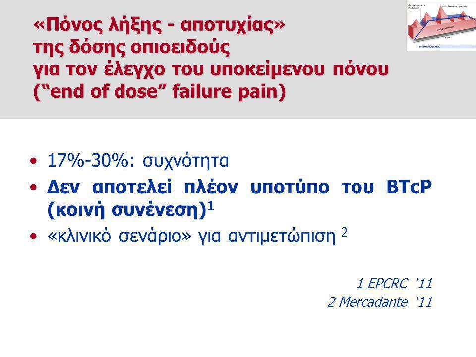 17%-30%: συχνότητα Δεν αποτελεί πλέον υποτύπο του BTcP (κοινή συνένεση) 1 «κλινικό σενάριο» για αντιμετώπιση 2 1 EPCRC '11 2 Mercadante '11 «Πόνος λήξης - αποτυχίας» της δόσης οπιοειδούς για τον έλεγχο του υποκείμενου πόνου ( end of dose failure pain)