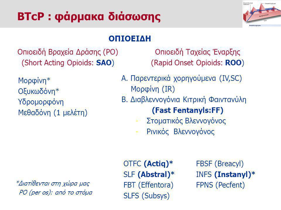 Μορφίνη* Οξυκωδόνη* Υδρομορφόνη Μεθαδόνη (1 μελέτη) *Διατίθενται στη χώρα μας PO (per os): από το στόμα ΟΠΙΟΕΙΔΗ Οπιοειδή Βραχεία Δράσης (PO) (Short Acting Opioids: SAO) Οπιοειδή Ταχείας Έναρξης (Rapid Onset Opioids: ROO) Α.