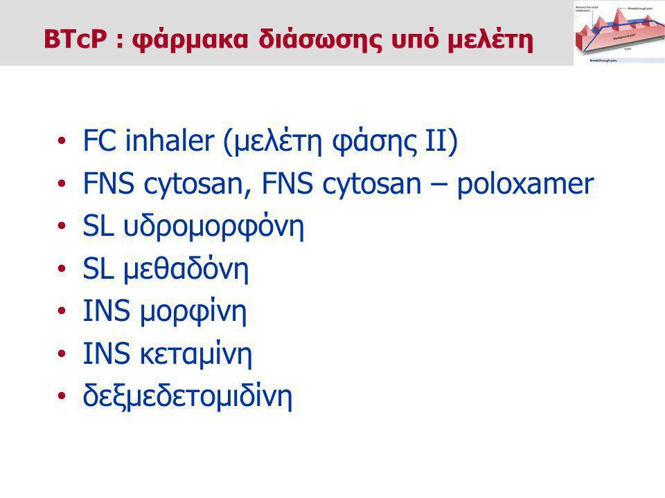 FC inhaler (μελέτη φάσης ΙΙ) FNS cytosan, FNS cytosan – poloxamer SL υδρομορφόνη SL μεθαδόνη ΙΝS μορφίνη ΙΝS κεταμίνη δεξμεδετομιδίνη BTcP : φάρμακα διάσωσης υπό μελέτη