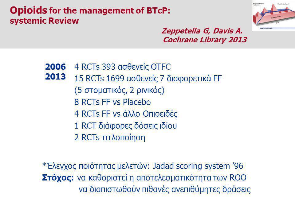 4 RCTs 393 ασθενείς OTFC 15 RCTs 1699 ασθενείς 7 διαφορετικά FF (5 στοματικός, 2 ρινικός) 8 RCTs FF vs Placebo 4 RCTs FF vs άλλο Οπιοειδές 1 RCT διάφορες δόσεις ιδίου 2 RCTs τιτλοποίηση20062013 *Έλεγχος ποιότητας μελετών: Jadad scoring system '96 Στόχος: να καθοριστεί η αποτελεσματικότητα των ROO να διαπιστωθούν πιθανές ανεπιθύμητες δράσεις Opioids for the management of BTcP: systemic Review Zeppetella G, Davis A.