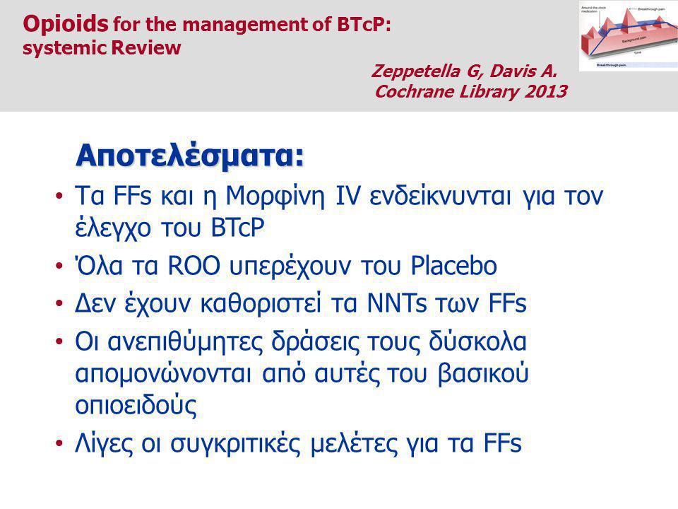 Τα FFs και η Μορφίνη IV ενδείκνυνται για τον έλεγχο του BTcP Όλα τα ROO υπερέχουν του Placebo Δεν έχουν καθοριστεί τα NNTs των FFs Οι ανεπιθύμητες δράσεις τους δύσκολα απομονώνονται από αυτές του βασικού οπιοειδούς Λίγες οι συγκριτικές μελέτες για τα FFs Αποτελέσματα: Opioids for the management of BTcP: systemic Review Zeppetella G, Davis A.