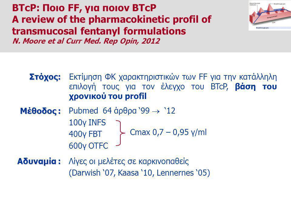 Εκτίμηση ΦΚ χαρακτηριστικών των FF για την κατάλληλη επιλογή τους για τον έλεγχο του BTcP, βάση του χρονικού του profilΣτόχος: Pubmed 64 άρθρα '99  '12 100γ INFS 400γ FBT 600γ OTFC Μέθοδος : Cmax 0,7 – 0,95 γ/ml Λίγες οι μελέτες σε καρκινοπαθείς (Darwish '07, Kaasa '10, Lennernes '05) Αδυναμία : BTcP: Ποιο FF, για ποιον BTcP A review of the pharmacokinetic profil of transmucosal fentanyl formulations N.