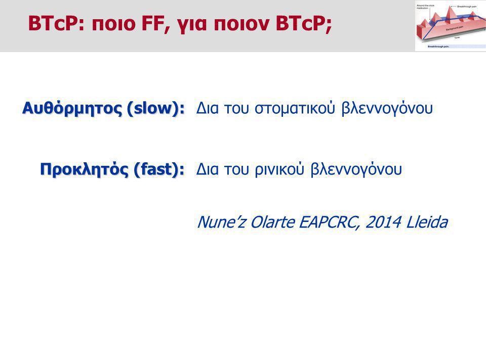 Δια του στοματικού βλεννογόνου Αυθόρμητος (slow): Δια του ρινικού βλεννογόνου Προκλητός (fast): Nune'z Olarte EAPCRC, 2014 Lleida BTcP: ποιο FF, για ποιον BTcP;