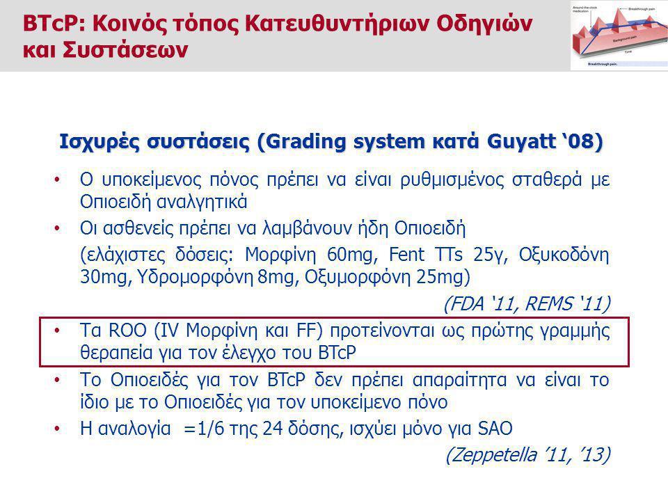 Ο υποκείμενος πόνος πρέπει να είναι ρυθμισμένος σταθερά με Οπιοειδή αναλγητικά Οι ασθενείς πρέπει να λαμβάνουν ήδη Οπιοειδή (ελάχιστες δόσεις: Μορφίνη 60mg, Fent TTs 25γ, Οξυκοδόνη 30mg, Υδρομορφόνη 8mg, Οξυμορφόνη 25mg) (FDA '11, REMS '11) Τα ROO (IV Μορφίνη και FF) προτείνονται ως πρώτης γραμμής θεραπεία για τον έλεγχο του BTcP Το Οπιοειδές για τον BTcP δεν πρέπει απαραίτητα να είναι το ίδιο με το Οπιοειδές για τον υποκείμενο πόνο Η αναλογία =1/6 της 24 δόσης, ισχύει μόνο για SAO (Zeppetella '11, '13) Ισχυρές συστάσεις (Grading system κατά Guyatt '08) BTcP: Κοινός τόπος Κατευθυντήριων Οδηγιών και Συστάσεων