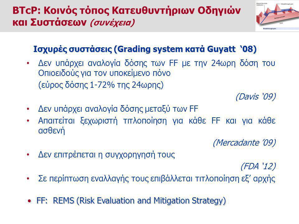 Δεν υπάρχει αναλογία δόσης των FF με την 24ωρη δόση του Οπιοειδούς για τον υποκείμενο πόνο (εύρος δόσης 1-72% της 24ωρης) (Davis '09) Δεν υπάρχει αναλογία δόσης μεταξύ των FF Απαιτείται ξεχωριστή τιτλοποίηση για κάθε FF και για κάθε ασθενή (Mercadante '09) Δεν επιτρέπεται η συγχορηγησή τους (FDA '12) Σε περίπτωση εναλλαγής τους επιβάλλεται τιτλοποίηση εξ' αρχής Ισχυρές συστάσεις (Grading system κατά Guyatt '08) FF: REMS (Risk Evaluation and Mitigation Strategy) FF: REMS (Risk Evaluation and Mitigation Strategy) BTcP: Κοινός τόπος Κατευθυντήριων Οδηγιών και Συστάσεων (συνέχεια)