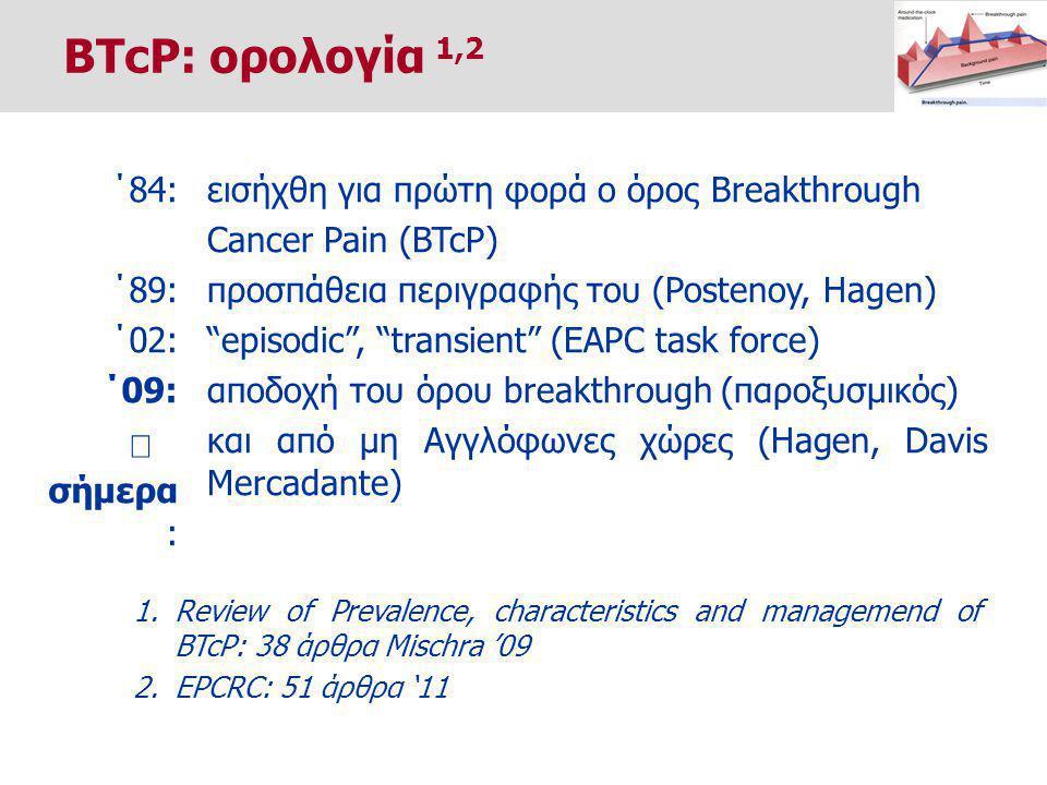 ΄84: ΄89: ΄02: ΄09:  σήμερα : 1.Review of Prevalence, characteristics and managemend of BTcP: 38 άρθρα Mischra '09 2.EPCRC: 51 άρθρα '11 εισήχθη για πρώτη φορά ο όρος Breakthrough Cancer Pain (BTcP) προσπάθεια περιγραφής του (Postenoy, Hagen) episodic , transient (EAPC task force) αποδοχή του όρου breakthrough (παροξυσμικός) και από μη Αγγλόφωνες χώρες (Hagen, Davis Mercadante) BTcP: ορολογία 1,2 ―