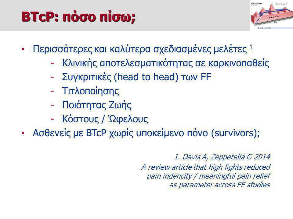 Περισσότερες και καλύτερα σχεδιασμένες μελέτες 1 -Κλινικής αποτελεσματικότητας σε καρκινοπαθείς -Συγκριτικές (head to head) των FF -Τιτλοποίησης -Ποιότητας Ζωής -Κόστους / Ώφελους Ασθενείς με BTcP χωρίς υποκείμενο πόνο (survivors); 1.