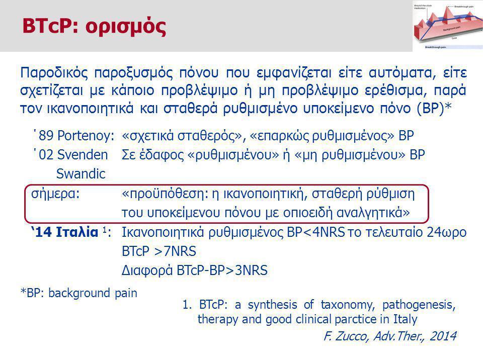 Παροδικός παροξυσμός πόνου που εμφανίζεται είτε αυτόματα, είτε σχετίζεται με κάποιο προβλέψιμο ή μη προβλέψιμο ερέθισμα, παρά τον ικανοποιητικά και σταθερά ρυθμισμένο υποκείμενο πόνο (BP)* ΄89 Portenoy: ΄02 Svenden Swandic σήμερα: '14 Ιταλία 1 : «σχετικά σταθερός», «επαρκώς ρυθμισμένος» BP Σε έδαφος «ρυθμισμένου» ή «μη ρυθμισμένου» BP «προϋπόθεση: η ικανοποιητική, σταθερή ρύθμιση του υποκείμενου πόνου με οπιοειδή αναλγητικά» Ικανοποιητικά ρυθμισμένος BP<4NRS το τελευταίο 24ωρο BTcP >7NRS Διαφορά BTcP-BP>3NRS *BP: background pain 1.