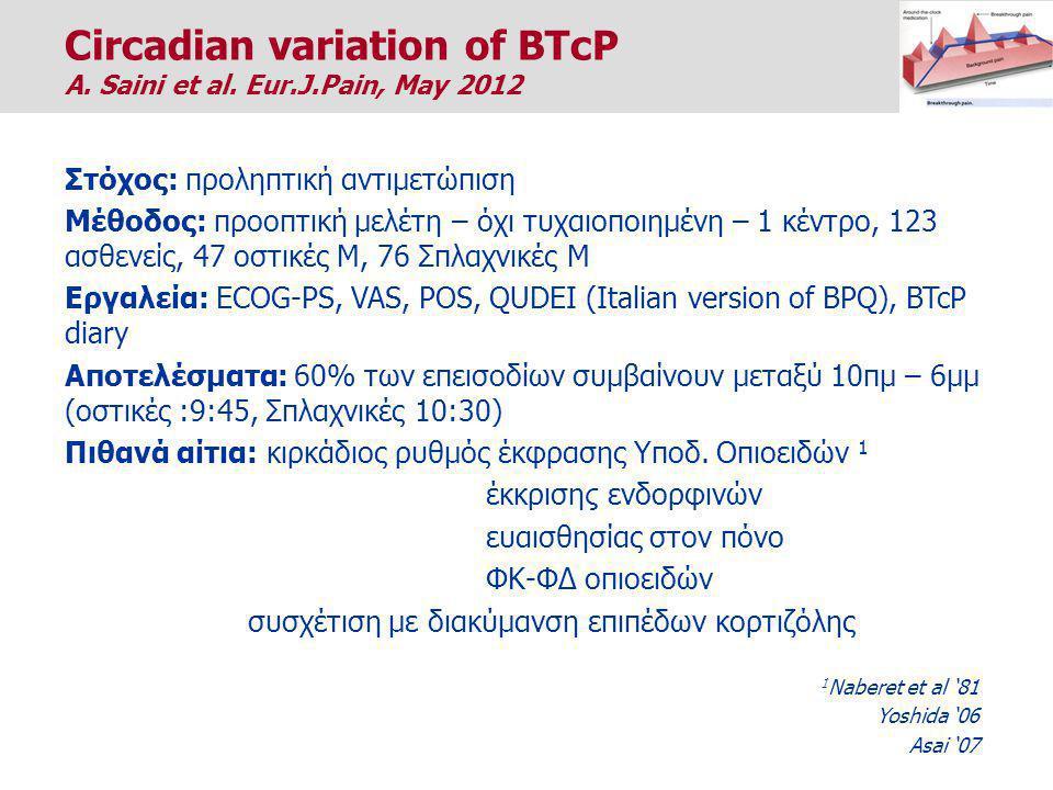 Στόχος: προληπτική αντιμετώπιση Μέθοδος: προοπτική μελέτη – όχι τυχαιοποιημένη – 1 κέντρο, 123 ασθενείς, 47 οστικές Μ, 76 Σπλαχνικές Μ Εργαλεία: ECOG-PS, VAS, POS, QUDEI (Italian version of BPQ), BTcP diary Αποτελέσματα: 60% των επεισοδίων συμβαίνουν μεταξύ 10πμ – 6μμ (οστικές :9:45, Σπλαχνικές 10:30) Πιθανά αίτια: κιρκάδιος ρυθμός έκφρασης Υποδ.