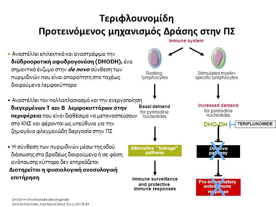 Αναστέλλει επιλεκτικά και αναστρέψιμα την διϋδροοροτική αφυδρογονάση (DHODH), ένα σημαντικό ένζυμο στην de novo σύνθεση των πυριμιδινών που είναι απαρ