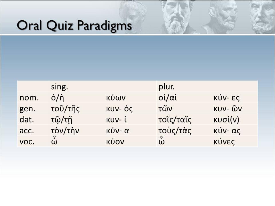 Oral Quiz Paradigms sing.plur. nom.ὁ/ἡκύωνοἱ/αἱκύν- ες gen.